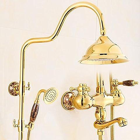 General europeo de lujo de cobre dorado Jade ducha el grifo de la ducha , 1