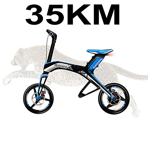 PORTABLE ELECTRIC BICYCLE ELECTRIC BIKE FOLDING MINI EBIKE SCOOT ER16 300 W  48 V/4 4AH LITHIUM BATTERY  COLOR AZUL  TAMAÑO 35KM  TAMAÑO DE RUEDA 16 00 INCHES