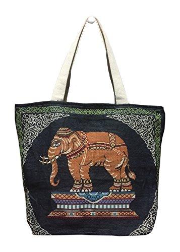 Elefanten Pj (PJ thailändisches Design Baumwolle Handtasche-Tasche für Frauen Elefant Print, personalisierbar, Zentral, Urlaub, Strand blau)