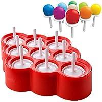 Moldes para helado Leegoal, moldes de silicona, moldes para hacer pájaros y helados con 9 palos para bebés y niños rosso
