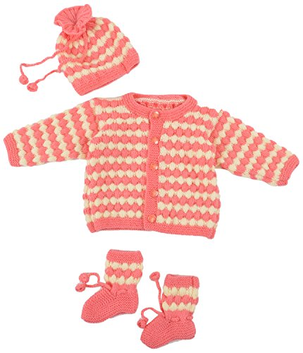 Kuchipoo Hand Knitted Sweater Set (Carrot & Cream Color, 3 to 9 Months)