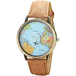 Mini World Unisex Watch World Map Moving Aeroplane Second Hand Analogue Quartz Bronze/Brown