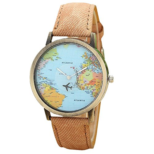 Mini World, Orologio da polso, unisex, stampa: planisfero con aereo come lancetta dei secondi, analogico, al quarzo, bronzo/marrone