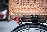 Tigana – Hundefahrradkorb für Gepäckträger aus Weide 60 x 39 cm mit Metallgitter + Kissen Tierkorb Hinterradkorb Hundekorb für Fahrrad - 5