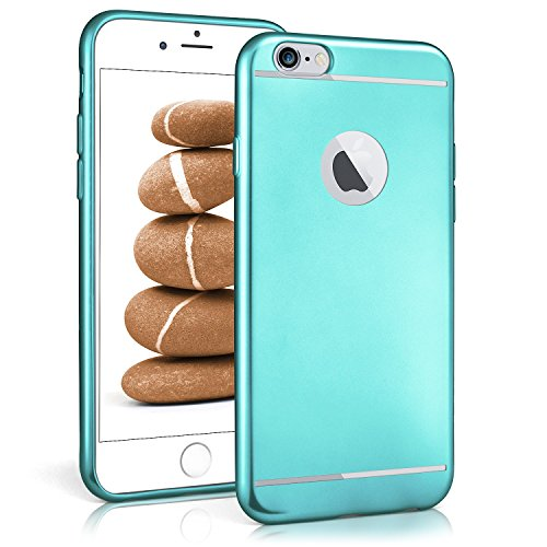iPhone 6S Hülle Silikon Gold [OneFlow Smooth Back-Cover] Chrom Matt Silikonhülle Ultra-Slim Schutzhülle Metallic Handy-Hülle für iPhone 6/6S Case Dünn AQUA-CYAN