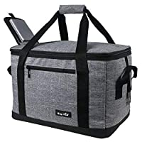 Hap Tim Soft Cooler Bag 40-Can Large Reusable Grocery Bags Soft Sided Collapsible Travel Cooler for Outdoor Travel Hiking Beach Picnic BBQ Party (AE13634-Grey)