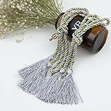 1 Paar Vorhang Baumwoll Kordel Raffhalter Seil Gebunden mit Quaste für Gardinen (Raffhalter, Grau und Golden)