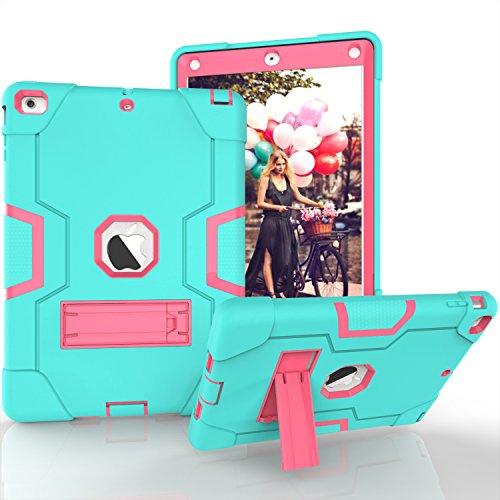 iPad Air Hülle, Dteck [Kippständer] Stoßfest [Corner / Bumper Schutz] [Grip] Rugged Hybrid Stoßdämpfend Schwerlast Schutzhülle für Apple iPad Air 1st Generation A1474/ A1475/ A1476, Aqua & Rosarot