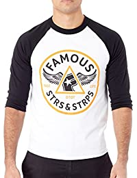 Famous Stars and Straps White-Black Pit Stop Raglan T-Shirt