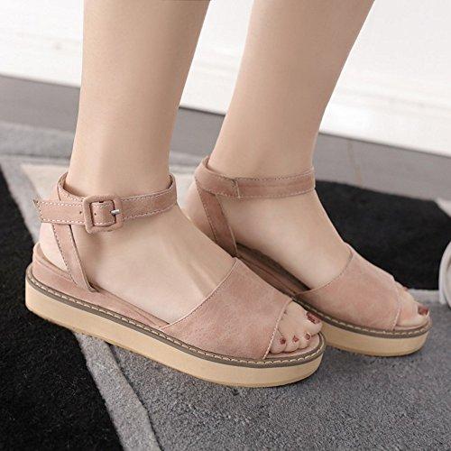 COOLCEPT Damen Mode Knochelriemchen Sandalen Open Toe Keilabsatz Slingback Schuhe Rosa