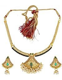 Anuradha Art Golden Colour Styled With Green Colour Shimmering Stone Traditional Necklace Set For Women/Girls