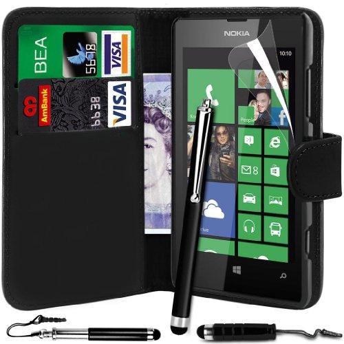 N4U Online PU-Leder-Mappen-Kasten-Abdeckung, Film & 3 Stylus Pen Bundle für Nokia Lumia 520 - Schwarz (520 Telefon-kasten Lumia Nokia)