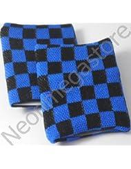 Par de Negro y Azul Pulsera de muñequeras de cuadros