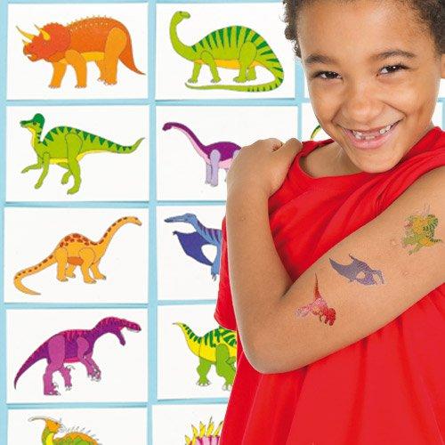 Calcomanías de Dinosaurios Tatuajes Infantiles Perfectos como Relleno de Piñata Premios y Regalos de Fiestas de Niños (Pack de 24)