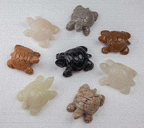 Deko Schildkröte Glücksbringer Steinschildkröte 4er Set 5x4cm massiv Naturstein in verschiedenen Farben