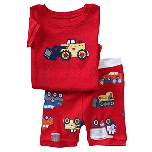 Milanao bambini, 2 pezzi, 100% cotone, Pigiama corto Set pigiama 2T-7 Rosso Forklift 4 anni