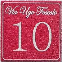 Numero civico in ceramica incisa_colore rosso mattone