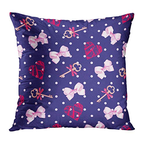 Throw Pillow Cover Cute Girly Navy Keys from Valentines Heart and Pink Satin Bows Pattern Polka Dot Blue Ribbon Decorative Pillow Case Home Decor Square 18x18 Inches Pillowcase