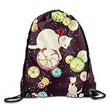 White Kitten Lightweight Drawstring Bag Sport Gym Backpack Gym Bag for Men and Women