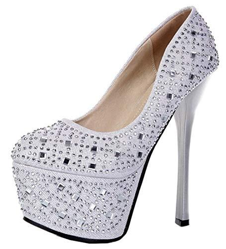 Bevalsa Damen Pumps Mary Janes High Heels mit Blockabsatz Pumps Plateau Elegant Hochzeitsschuhe High-Heel Schuhe 15 cm