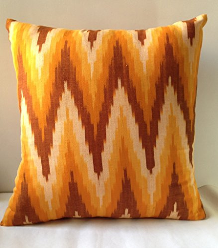 MARIGOLD CUSHION COVER COTTON IKAT YELLOW - 16