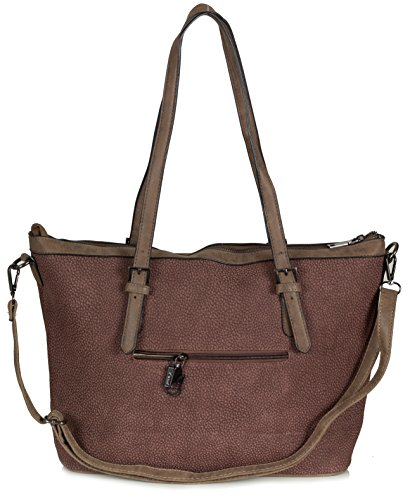 Xuna Damen Handtasche - Shopper Tasche aus weichem Kunstleder mit Schulterriemen (44,5 x 29 x 14,5 cm) Kastanien Braun