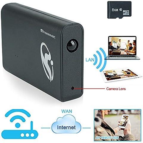 TEKMAGIC 8GB 1920x1080P HD Red WIFI Cámara Espía Banco de Energía Detección de Movimiento DV Videocámara la Ayuda del iPhone Android APP Vista Remota 7/24 Horas de