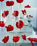 Spirella Poppy Cinnibar PEVA Plastic Transparent Shower Curtain with Poppy Flower Pattern, 180 x 200 cm, Red