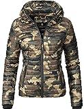 Marikoo Damen Übergangs-Jacke Jacke Steppjacke Samtpfote Camouflage Gr. L