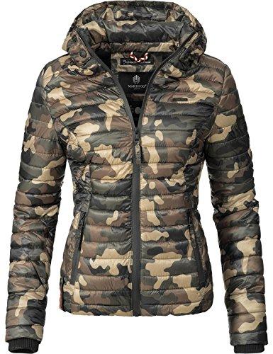 Marikoo Damen Übergangs-Jacke Jacke Steppjacke Samtpfote Camouflage Gr. S