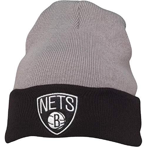 Mitchell & Ness Herren Brooklyn Nets 2 Tone Cuff Knit Beanie Grey/Black (One Size)