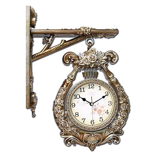 RFVBNM Unione-doppia faccia orologio da parete tabella soggiorno camera da letto moderno lusso grafici per parete giardino vintage orologi al quarzo,42*53cm