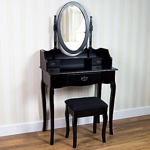 Home Discount nishano Tavolino da trucco con sgabello con 3cassetti, specchio ovale regolabile Camera da (Camera Ovale Dresser)