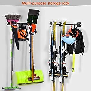 ElevenII Skihalter Ski-Wandhalterung Für die Lagerung von bis zu 10 Paar Skiern Lagergestell für Haus oder Garage, Farbe: Schwarz