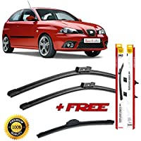 Set of 3 flat blade wiper blades for SEAT IBIZA III 2002-2009 rear wiper