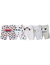 BOZEVON Largo/corto Leggings de algodón para bebés y niños pequeños - Pack de 5 - Niños Niñas Diseños de animales coloridos