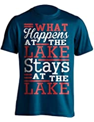 """Funny """"What Happens en el lago Stays en el lago"""" Fishing–Camiseta de pesca camiseta–Idea de regalo para Dad, Brother, Uncle o para un amigo en cualquier ocasión. Regalo de cumpleaños, Regalo del día de padre y regalo de Navidad..., azul marino"""