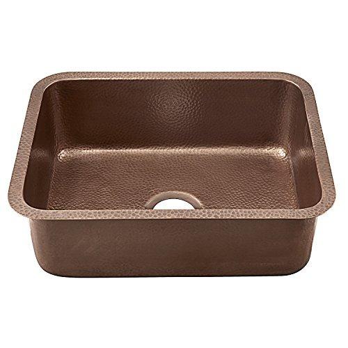 Bowl Undermount Kitchen (Sinkology SK201-23AC Classic Renoir Undermount copper Sink 23 In. Single Bowl Kitchen Sink In Antique copper, 23, Hammered Antique Copper by Sinkology)