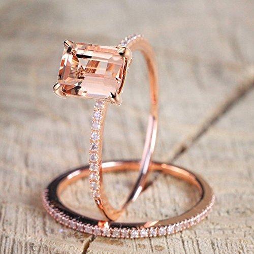 KLWKYA Europa und Amerika Überzogene 18K Roségold Diamant Engagement Set Ringe Exquisit Mikro-Eingelegter Zirkonstreifen Ring,6