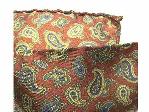 Avantgarde - Fazzoletto da Taschino Uomo Blu Beige Bordeaux Seta Di Cashmere Pochette Paisley, Colore: Rosso Bordeaux