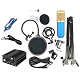 FidgetGear Electronics BM-800 Condenser Microphone Kit Computer Network Karaoke Microphone Set Blue Tube Gold net Set 1