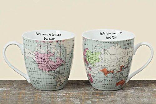 Kaffeetasse Weltkarte Porzellan-Tasse Kaffee-Becher, 2er Set