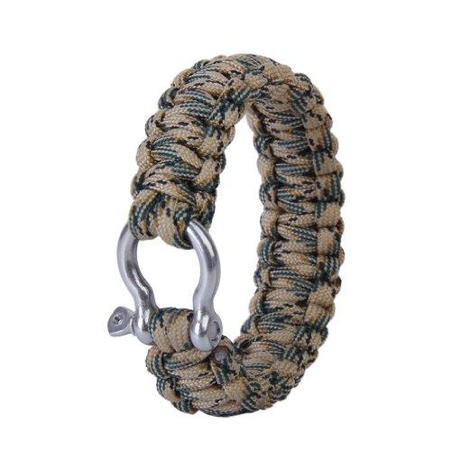 Überleben Armband mit rostfrei Stahl Bogen Schäkel- Wüste camo -