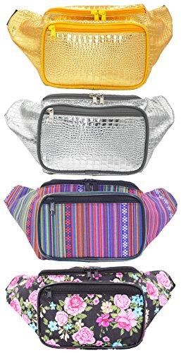 Doris Boutique FU - [3 Tasche] PU Leder Gürteltasche Canvas Hüfttasche Gewebtes Baumwollgewebe Bauchtasche Geldbeutel Bikertasche Gold