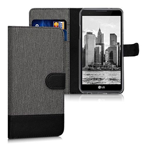 kwmobile Hülle für LG X power - Wallet Case Handy Schutzhülle Kunstleder - Handycover Klapphülle mit Kartenfach und Ständer Grau Schwarz (Handy Hülle Für Ein Lg)