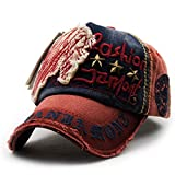 FENGFA Unisex Baseball Kappen Vintage Distressed Cap Washed Denim Baumwoll Basecap (Rot)