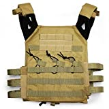 alexsport táctico Molle JPC chaleco Plate Carrier para Airsoft Paintball CS, canela