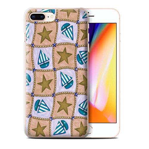 Stuff4 Hülle / Case für Apple iPhone 8 Plus / Rot/Grün Muster / Boote und Sterne Kollektion Braun/Blau