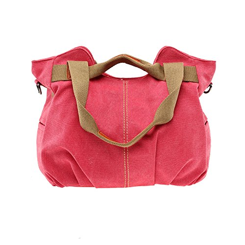 BYD - Mutil Function Female Borse a mano School Bag Shopping Bag Colorful Canvas Borse Tote Bag Borse a spalla with Double Strap Rosso