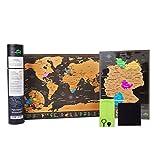 Atlas&Green Weltkarte Zum Rubbeln A3 (Deutsch) Reisegröße (42 x 29,7cm) + Bonus A4 Deutschland Karte - mit Zubehör-Kit und Geschenk-Tube - Deluxe Weltkarte rubbel